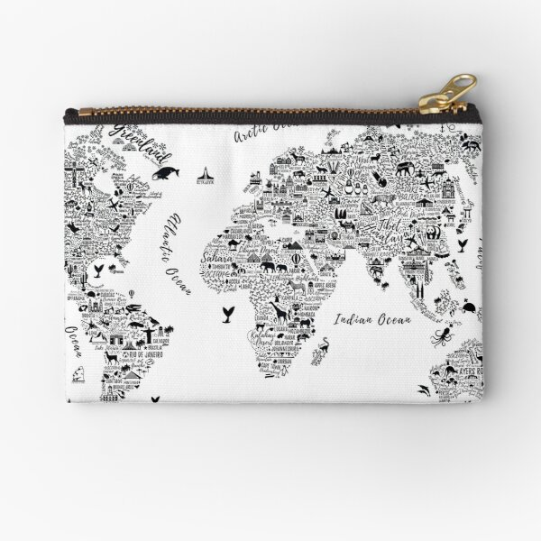 Typography World Map. Zipper Pouch