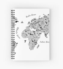 Typography World Map. Spiral Notebook