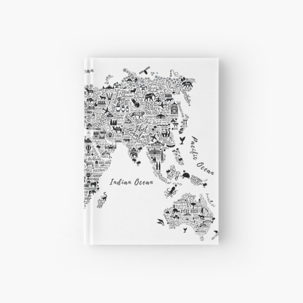 Typography World Map. Hardcover Journal