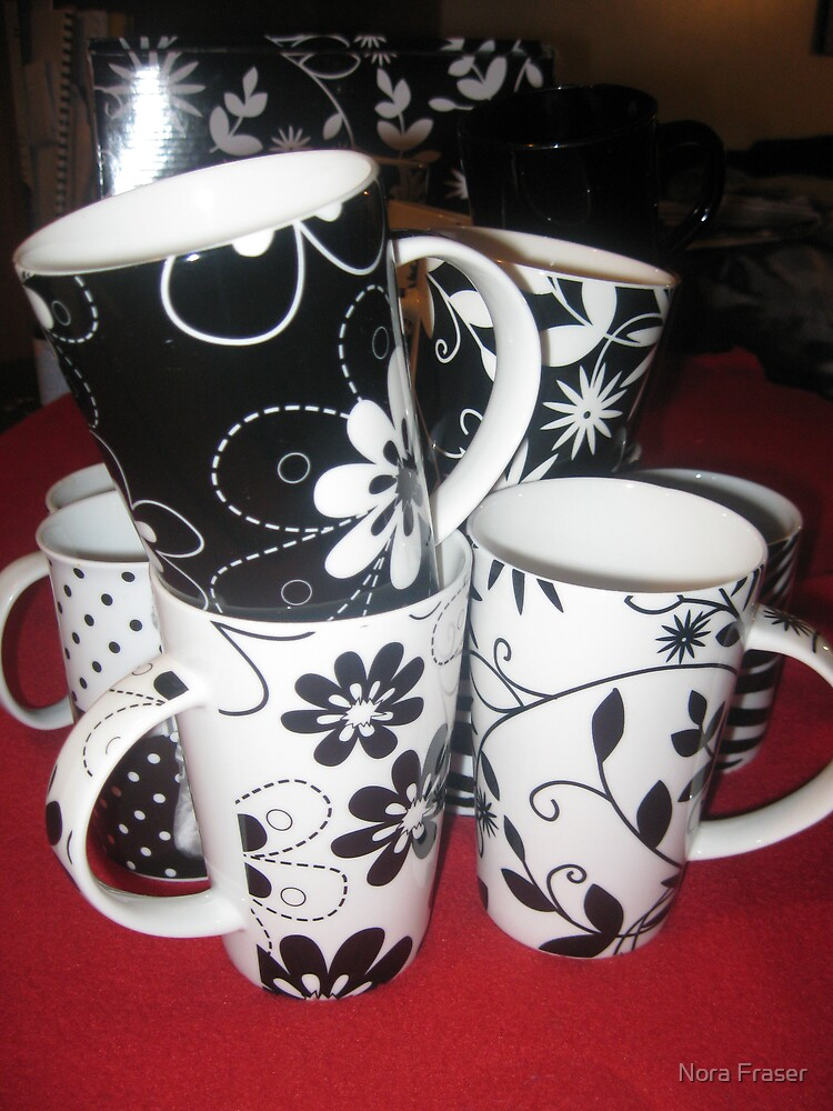 My Black and White series of cups by Nora Fraser
