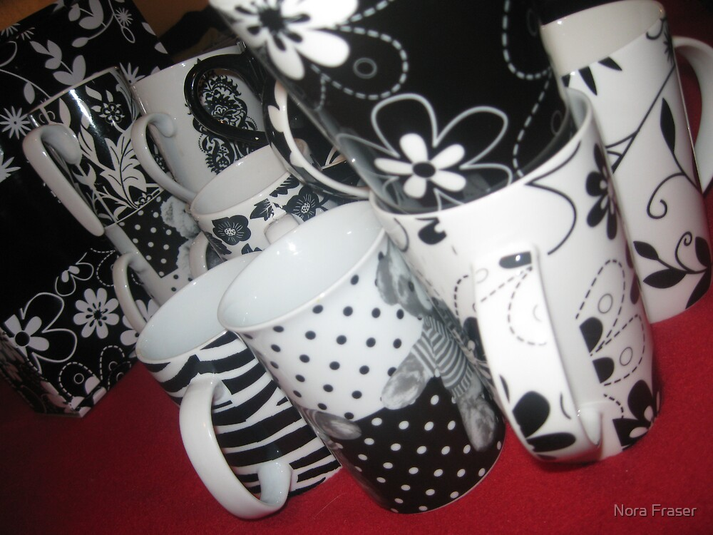 BLACK AND WHITE CUPS AND MUGS by Nora Fraser