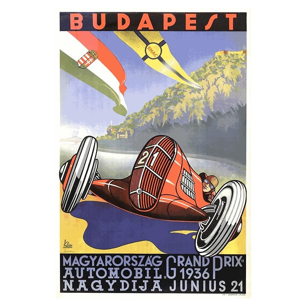 Hungarian Grand Prix, Budapest 1936: Vintage Poster Design by Chunga