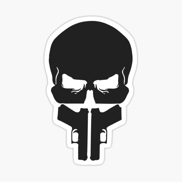 Grey Skull and Guns Sticker