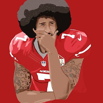 Colin Kaepernick thinking kneeling  number 7 by MimieTrouvetou