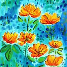 Abstract Orange Poppies   by TigaTiga