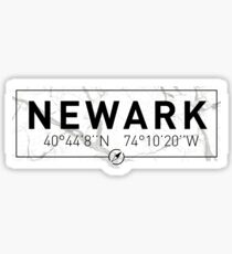 The longitude and latitude of Newark, NJ Sticker