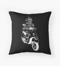 Robots love Vespa! Throw Pillow
