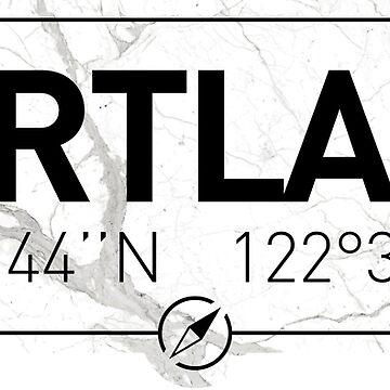 The longitude and latitude of Portland by efomylod