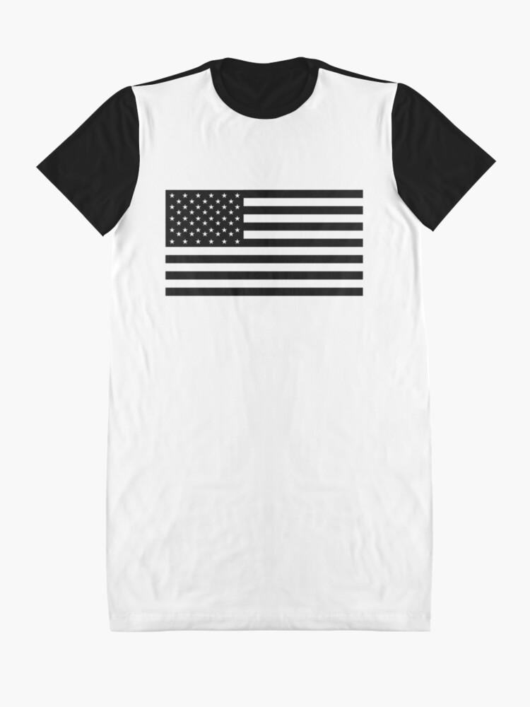 Vista alternativa de Vestido camiseta Bandera americana, STARS & STRIPES, EE. UU., América, negro sobre blanco
