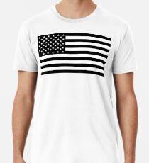 American Flag, STARS & STRIPES, USA, America, Black on white Men's Premium T-Shirt