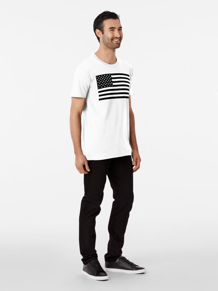 Vista alternativa de Camiseta premium Bandera americana, STARS & STRIPES, EE. UU., América, negro sobre blanco