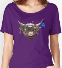 Christmas Highland Cow Women's Relaxed Fit T-Shirt