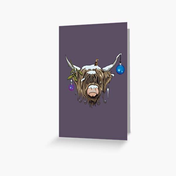 Christmas Highland Cow Greeting Card