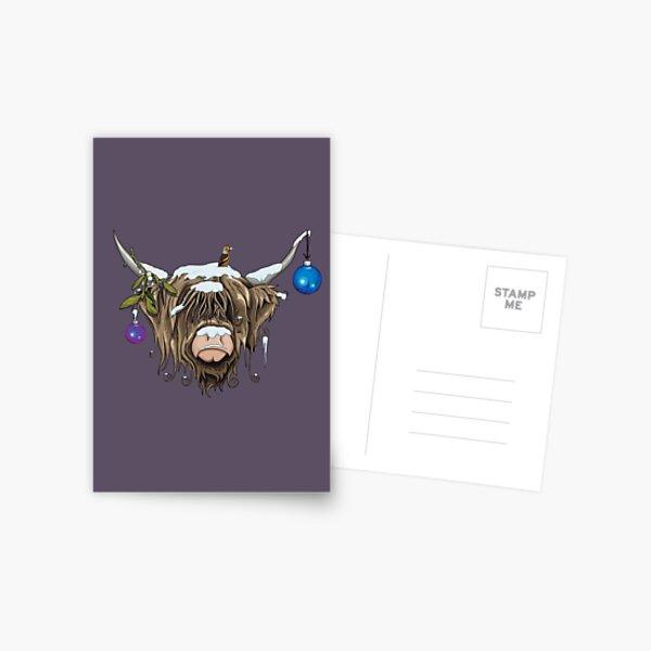Christmas Highland Cow Postcard