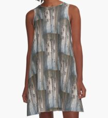 Grey Wood Knots A-Line Dress