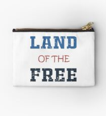 Land Of Free Merica American Flag  T-Shirt Studio Pouch