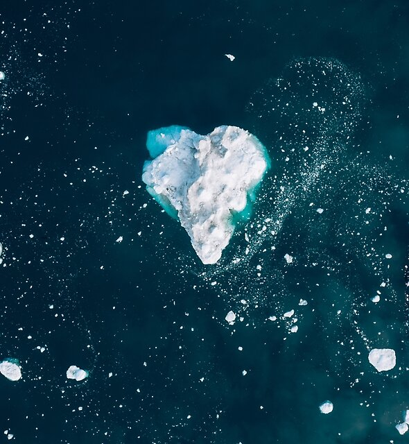 Heart of Winter - Abstract aerial view of Icebergs in the arctic Ocean  by Michael Schauer