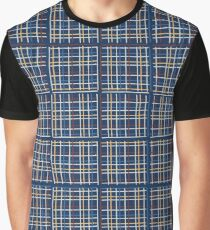 Navy Blue Criss Cross Weave Hand Drawn Vector Pattern Background Graphic T-Shirt