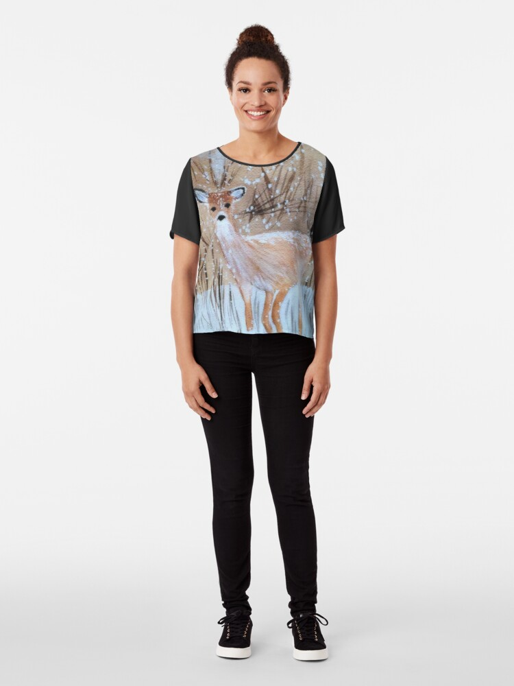 Alternate view of Deer in the Snow Chiffon Top