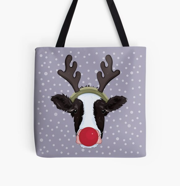 Christmas Cow Disguised as a Reindeer All Over Print Tote Bag