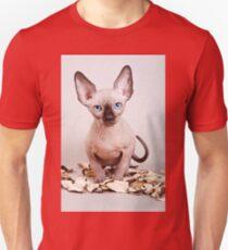 Sphynx kitten with blue eyes, no hair Unisex T-Shirt