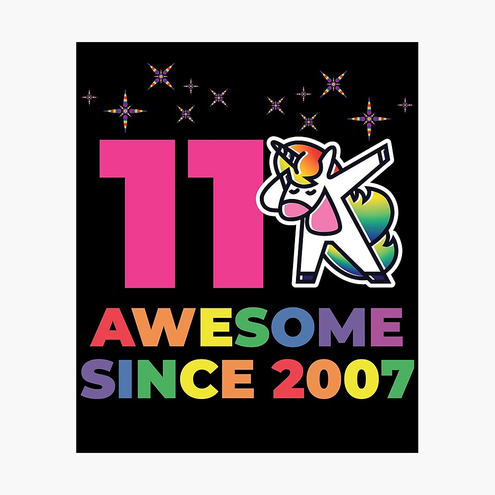 Unicorns are Born in 2007 T-Shirt 11th Birthday Dabbing Tee