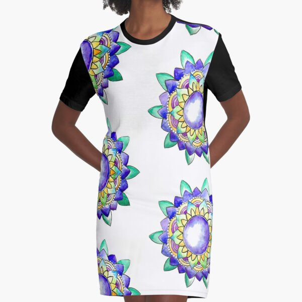 Watercolor Mandala  Graphic T-Shirt Dress