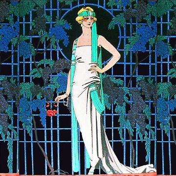 LADY AND RED ROSES IN THE NIGHT, ART DECO BEAUTY FASHION by BulganLumini