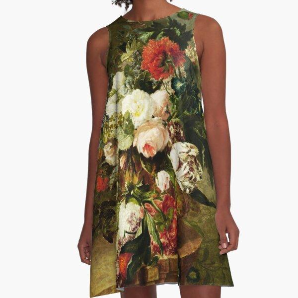 Vintage Blumen Ölgemälde A-Linien Kleid