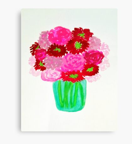 Pink Flowers in a Vase Canvas Print