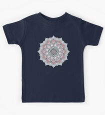 Expansion - boho mandala in soft salmon pink & blue Kids Tee