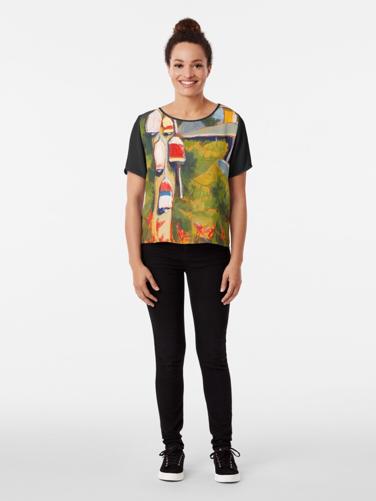 Alternate view of Buoys on a Telephone Pole Chiffon Top