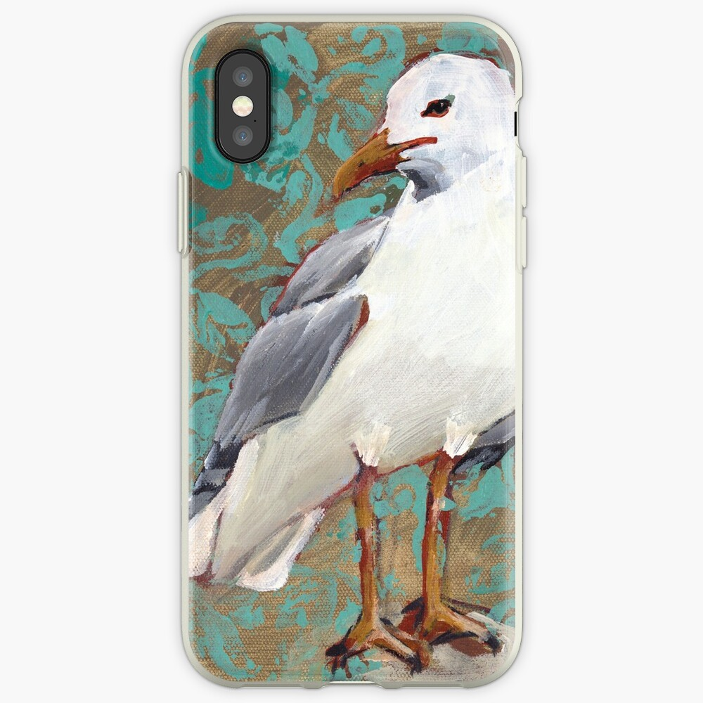 Seagull with Aqua Pattern 1 of 2 iPhone Case & Cover
