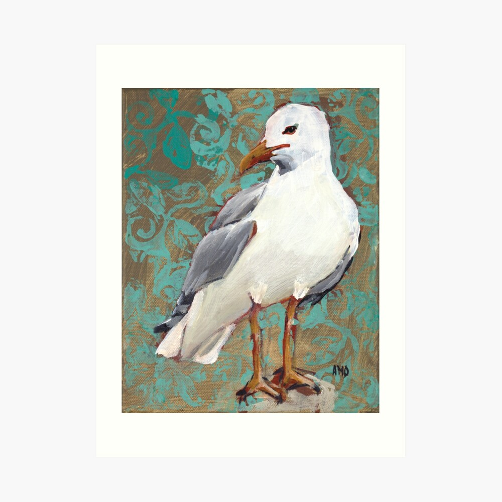 Seagull with Aqua Pattern 1 of 2 Art Print