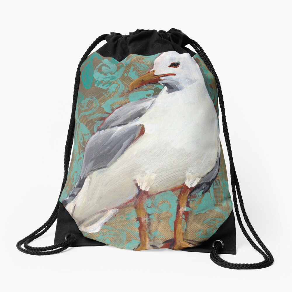 Seagull with Aqua Pattern 1 of 2 Drawstring Bag