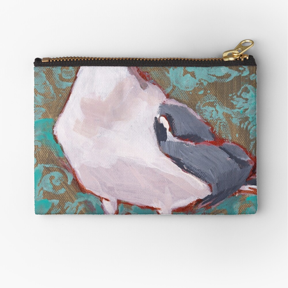 Seagull with Aqua Pattern 2 of 2 Zipper Pouch