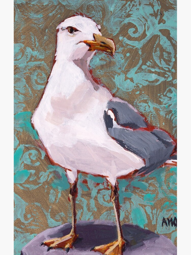 Seagull with Aqua Pattern 2 of 2 by AMOpainting