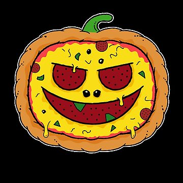 Pizza Halloween - Funny Pumpkin Pizza Face by propellerhead