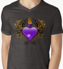 Flaming Heart Men's V-Neck T-Shirt