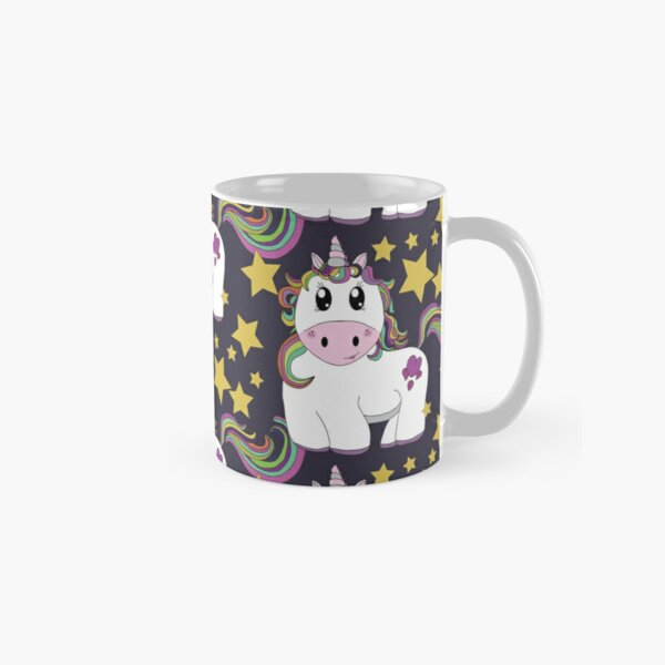 Cutie Pie Unicorn With Stars - Tiling Design Dark Background Classic Mug