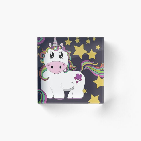 Cutie Pie Unicorn With Stars - Tiling Design Dark Background Acrylic Block