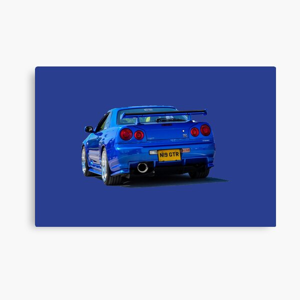 Canvas Picture Iconic Sports Car History Wall Art Poster Blue Nissan Skyline