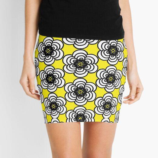 Yellow and Black Flowers Mini Skirt