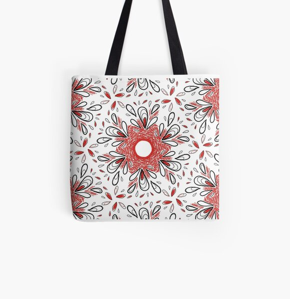 Red Scribble Pattern All Over Print Tote Bag