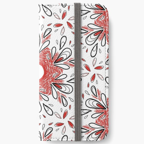 Red Scribble Pattern iPhone Wallet