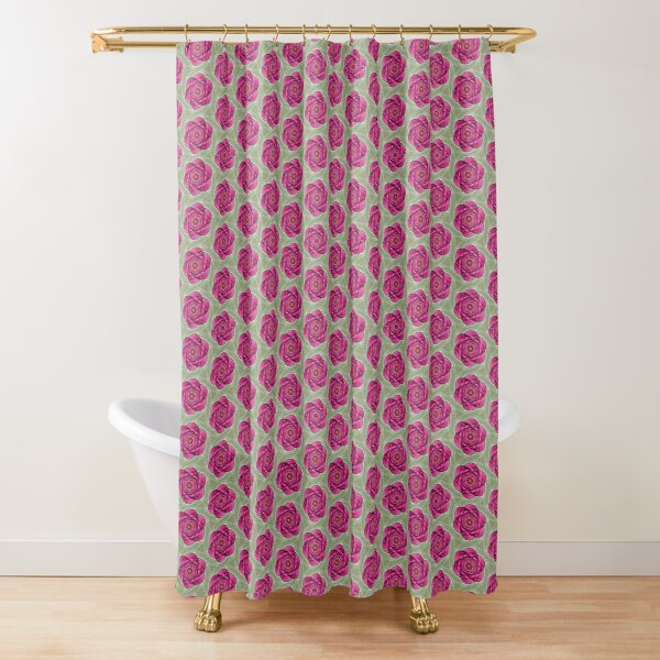 Green and Rose Abstract Flower Shower Curtain