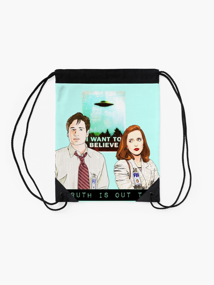 Alternate view of The X files the truth is out there I want to believe by Mimie  Drawstring Bag