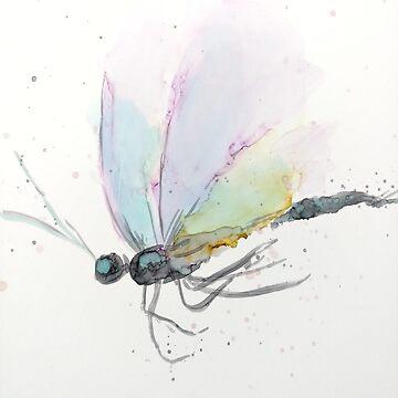 Dragonfly Soft Purple & Green by GlennArt