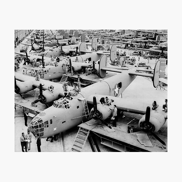 B-24 Bomber Assembly Line, 1943. Vintage Photo Photographic Print