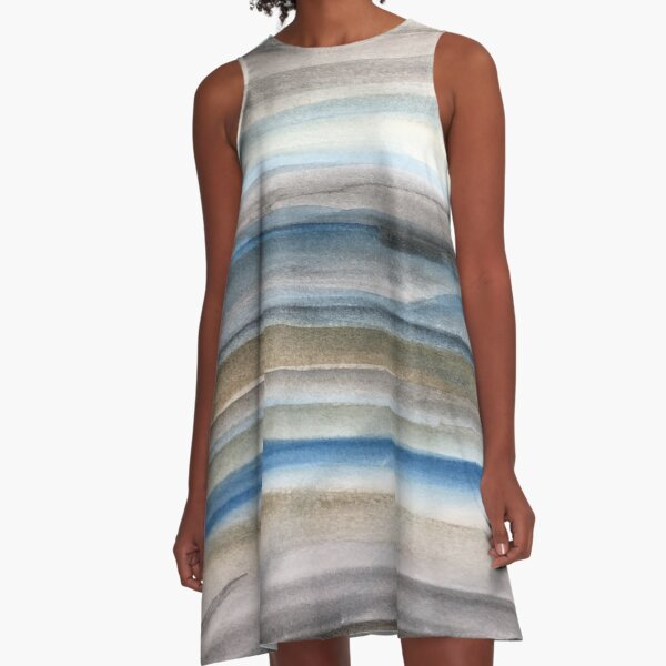 Brown and Blue Abstract A-Line Dress